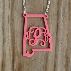 State Monogram Acrylic Necklace  Alabama  by CayteeBellesCloset, $30.00