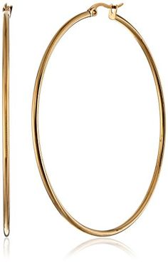 18K Gold Plated 60mm, Top Click Closure Hoop Earrings * You can get additional details at