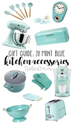 20 Teal & Turquoise Accessories - Mint Blue Kitchen Accessories Informations About Mint Blue Kitchen Accessory Gift Guide; 20 Teal & T - Green Kitchen Accessories, Turquoise Accessories, Bleu Turquoise, Home Decor Accessories, Azul Tiffany, Bleu Tiffany, Kitchen Decor Themes, Kitchen Colors, Kitchen Ideas
