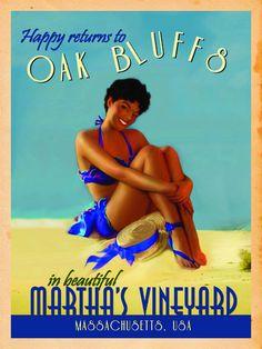 1865Company — Martha's Vineyard Vintage Resort Canvas Stunning Women, Beautiful, Happy Returns, Martha's Vineyard, Blue Bikini, Keepsakes, Electric Blue, 18th Century, Canvas