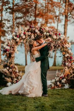 Lakeside backyard wedding portrait with floral circular backdrop   Image by Britt & Bean Photography Wedding Blog, Wedding Styles, Wedding Gowns, Ethereal Wedding, Elegant Wedding, Bohemian Wedding Inspiration, Wedding Portraits, Backdrops, Backyard