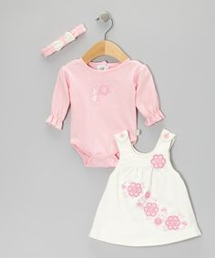 Duck Duck Goose Pink Mouse Flower Ruffle Bodysuit Set - Infant by Duck Duck Goose #zulily #zulilyfinds