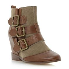 BERTIE LADIES Brown PYTHON - Suede and Leather Multi Buckle Hidden Wedge Boot | Dune Shoes Online