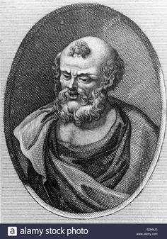 Democritus of Abdera, circa 465 - 365 BC, Greek philosopher, portrait, copper engraving, after bust, 3rd century, atomism, Demok Stock Photo