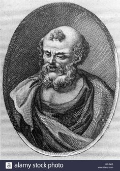 Democritus of Abdera, circa 465 - 365 BC, Greek philosopher, portrait, copper engraving, after bust, 3rd century, atomism, Demok Stock Photo