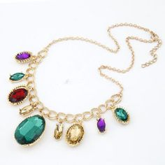 Fashion kpop bib Big Chunky Multicolor Crystal Statement #necklaces #pendants  #jewelry ...