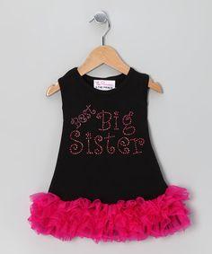 Black 'Best Big Sister' Ruffle Dress - Infant, Toddler & Girls