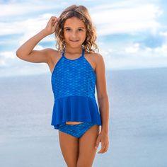 90647a8033d95 Crystal's Arctic Blue Peplum Tankini Set | Fin Fun Mermaid Peplum Swimsuit,  Mermaid Swimsuit,