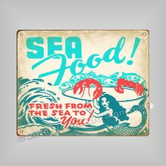 Seafood Sign Vintage Mermaid Fish Lobster | eBay