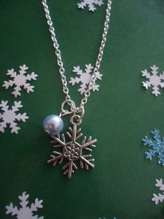 Unique Snowflake & Swarovski Ice Blue Pearl Necklace. Frozen inspired necklace. Winter/Christmas snowflake jewellery. Made to order. by HazelsWeddingShop on Etsy