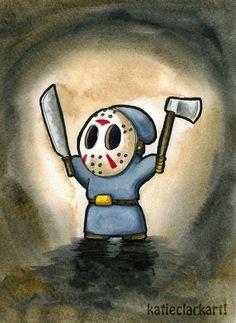 Friday the Shyguy - Art Print of original watercolor painting Katie Clark, Hood Wallpapers, Friday The 13th Tattoo, Pin Up Girl Vintage, Super Mario Art, Clark Art, Sonic Art, Arte Pop, Horror Art
