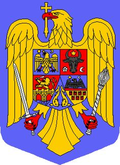 Romania's coat of arms:  - in blue, yellow and red. Same as the flag colors.  - the golden eagle holds a cross in its beak as a central element.  -the eagle holds a scepter and a saber, the insignia of sovereignty.  -the four quarters are symbols of historic Romanian provinces. (Wallachia, Moldavia, Transylvania, Banat and Crisana)  -The two dolphins signifying the country's Black Sea.
