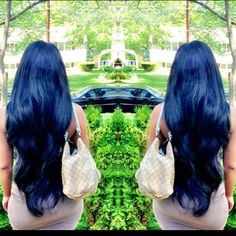 Patiently waiting for my hair to get this long! I love this blue black color too, may be thinking of going this color before the length. Long Curly Hair, Curly Hair Styles, Natural Hair Styles, Dark Hair, Blue Hair, Locks, Hair Laid, Crazy Hair, Hair Dos