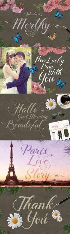 Buy Merthy Script by barra_kuda on GraphicRiver. Introducing Merthy script font with cool character! Merthy come more than 350 glyphs and this perfect for poster desi. Script Fonts, Typography Fonts, Hand Lettering, Beautiful Paris, Paris Love, Modern Fonts, Modern Posters, Feminine Fonts, Calligraphy Cards