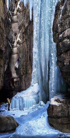 Frozen waterfall in Jasper National Park, Alberta, Canada.