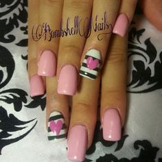 Hearts and stripes nail art with pink white and grey