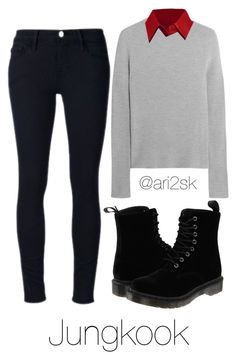 """""""Cozy with Jungkook 🌧"""" by ari2sk on Polyvore featuring Iris & Ink, LE3NO, Frame Denim and Dr. Martens"""