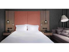 Hilton London Bankside | interior design | hotel design | guestroom | chaise lounge | floor lamp | suspended lamps | leather bedhead: