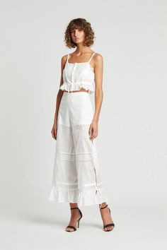 A wide leg pant that features fine embroidery details and high side splits with ties. Fashion Pants, Girl Fashion, Womens Fashion, Split Pants, Sheer Crop Top, Wide Leg Linen Pants, Maxi Shirt Dress, Sheer Fabrics, Green Fashion