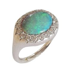 Dalben Australian Opal Diamond Gold Millerighe Ring 1