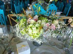 CBV160 Weddings Riviera Maya vintage centerpices grey and peach- pink floral / bodas riviera maya centro de mesa tipo frutero Vintage rosa y gris