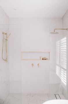 Are Double Showers really worth it? 🤔 🚿 🚿   We say - YES! This hotel-inspired look is simply stunning, and it shouldn't be reserved for when you are away on holidays.   A double shower invites openness, dual-utility and luxurious style into your space - creating a five-star bathroom experience. ✨  We love the way @the_coastalbarndream have executed this look with their Rain Shower and Hand Shower. 🙌 Bathroom Renos, Laundry In Bathroom, Bathroom Renovations, Small Bathroom, Downstairs Bathroom, Bathroom Design Inspiration, Bathroom Interior Design, Home Decor Inspiration, Timeless Bathroom