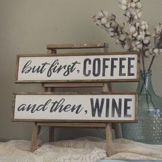 But First Coffee And Then Wine wood sign set. Perfect for the coffee and wine lover in your life! Sign by TheGreenElephantShop on Etsy