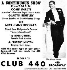 """""""In Chicago two night clubs, the Roselle Club, run by Eleanor Shelly, and the Twelve-thirty Club, run by Becky Blumfield, were closed by the police during the 1930s because """"women in male attire were nightly patrons of the places"""". Many of the couples who frequented these clubs had been married to each other by a black minister on Chicago's South Side. In San Francisco, lesbians met at Mona's, where, it was said 'Girls will be Boys.'"""""""