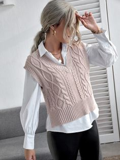 Vest Outfits, Basic Outfits, Cute Casual Outfits, Fashion Outfits, Casual Mode, Korean Fashion Dress, Vest Pattern, Knitwear Fashion, Clothing Hacks