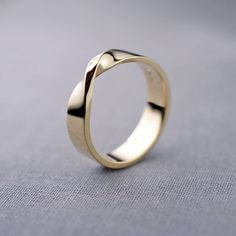 14K Gold Mobius Ring  Mens 14K Gold Wedding by LilyEmmeJewelry
