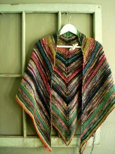 "melted crayon shawl - Version of ""Simple But Effective SHawl"" here: http://www.cosmicpluto.com/blog/simple-yet-effective-shawl/"