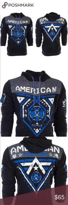NWT MENS AMERICAN FIGHTER HOODED SWEAT SHIRT NWT MENS AMERICAN FIGHTER BLUE MOUNTAIN HOODED SWEAT SHIRT SIZE MEDIUM AND LARGE Affliction Shirts Sweatshirts & Hoodies