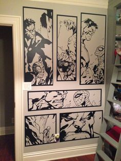 Hall of Heroes brings you our fantastic Incredible Hulk & Spiderman Comic Strip Wall Art made by us from high quality matte black vinyl. This art