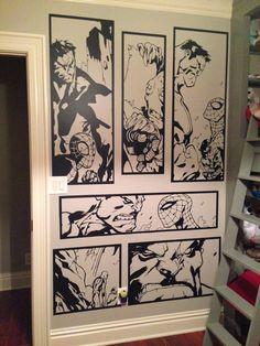Giant Hulk & Spiderman Comic Vinyl Wall Art Sticker Home Decor Living Room Bedroom Marvel Wall Art, Comic Room, Stripped Wall, Nerd Room, Superhero Room, Vinyl Wall Art, Mens Wall Art, Man Cave Wall Art, Wall Decals