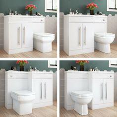 White Vanity Unit Basin Sink Toilet Bathroom Cabinets Combined with Water Tank · $268.59 Toilet Vanity Unit, White Vanity Unit, Basin Vanity Unit, Basin Sink, Vanity Cabinet, Cabinet Handles, Bathroom Tap Sets, Bathroom Basin, Modern Bathroom