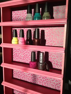 Nail Polish Rack, Pink Cheetah byAlegory - Various Color Frame Options