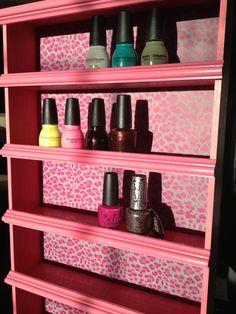 Pink cheetah nail polish rack<3<3