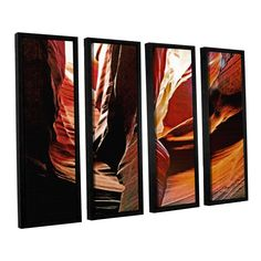ArtWall Linda Parker 'Slot Canyon Light From Above 4' 4 Piece Floater Framed Set