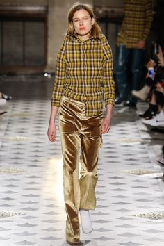 """The super-shrunken proportions of the clothes (the fabrics washed at high temperatures, said Gvasalia) suggested the post-pubertal hunch of heavy metal hoodies. And the general air of sullen disaffection was amplified by sarcastic feel-bad sloganeering like """"Are we having fun yet?"""" Titanic's young lovers, stars of Spring's sweats, were replaced by the Gothic-scripted enticement to """"Drink my blood and live forever."""" Fall 2016"""