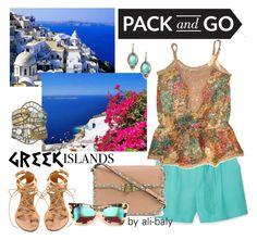 """Dream greek islands"" by ali-baly on Polyvore featuring MANGO, Rene Escobar, Caleidoscopio, Valentino, Ancient Greek Sandals, Wildfox, Packandgo and greekislands"