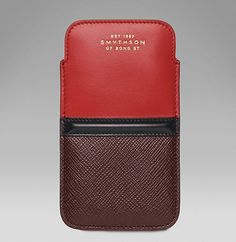 Panama iPhone 5 sleeve in cross-grain leather  http://www.smythson.com/venetian-red-panama-iphone-5-sleeve.html
