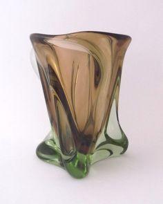 Skrdlovice Bohuslav Beranek 5971 -- massive sculptural glass vase -- Czech art glass