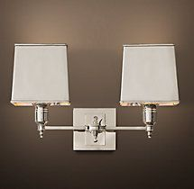 Claridge Double Sconce - Polished Nickel with Metal Shade