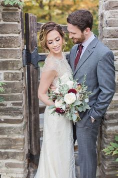 Glenerin Inn Fall Wedding - rustic bride and groom portraits at barn - Brittany Lee Photography