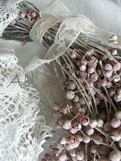 Pretty lace ribbon tied around dried flowers Pink Grey, Pink Color, Gray, Purple, Autumn Rose, Gris Rose, Rose Cottage, Lavender Cottage, White Cottage