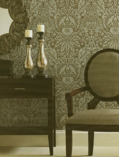 Sage and Silver Damask Wallpaper by Brewster. Find this pattern at AmericanBlinds.com