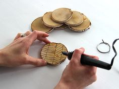 Use Your Dremel to Etch a Herringbone Pattern Into Wood Coasters >> http://blog.diynetwork.com/maderemade/how-to/diy-etched-birch-coasters/?soc=pinterest