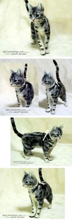 This is needle felted! It looks so alert! Needle Felted Cat, Needle Felted Animals, Felt Animals, Wooly Bully, Needle Felting Tutorials, Crochet Amigurumi, Felt Cat, Cat Crafts, Grey Cats