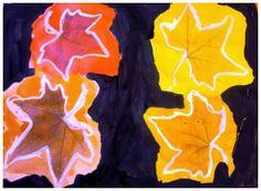 Fulles de tardor amb cera blanca i aquarel·les líquides sobre fons negre Autumn Art, Autumn Leaves, Crafts For Kids, Arts And Crafts, Fall Art Projects, 4 Kids, Art Education, Halloween Crafts, Superhero Logos