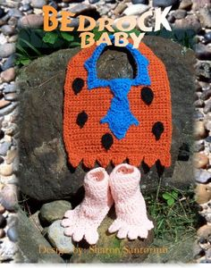 Bedrock Baby Bib and Booties Crochet Pattern by Sharon Santorum, Booties Crochet, Crochet Baby Bibs, Crochet Baby Clothes, Crochet For Boys, Cute Crochet, Crochet Crafts, Crochet Projects, Knit Crochet, Crochet Costumes